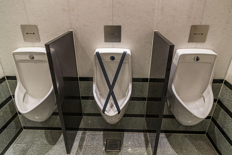 Hygiene Distancing public bathroom in Zurich, Switzerland